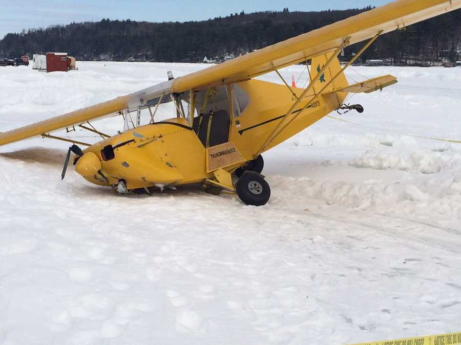 The pilot said his wing hit a snow bank, spun out of control and crashed. No one was injured. The pilot was the only person in the plane.