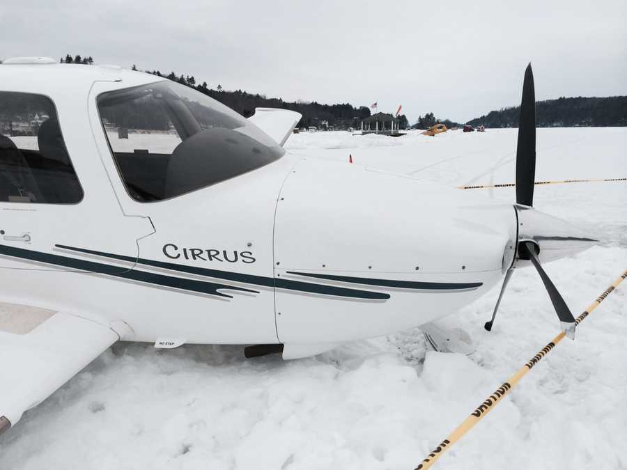 A small plane crashed into a snowbank Monday on Alton Bay, but no one was injured.