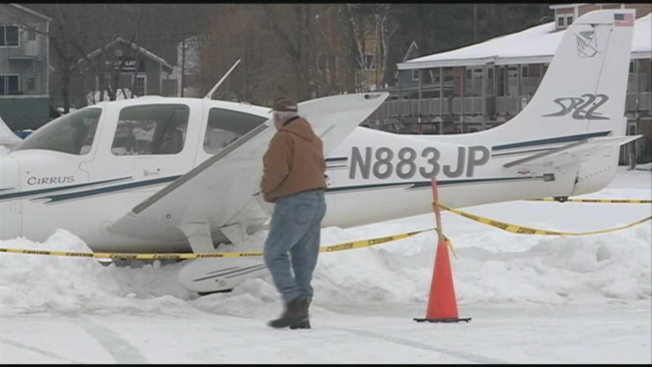 Plane crashes into snowbank on Alton Bay