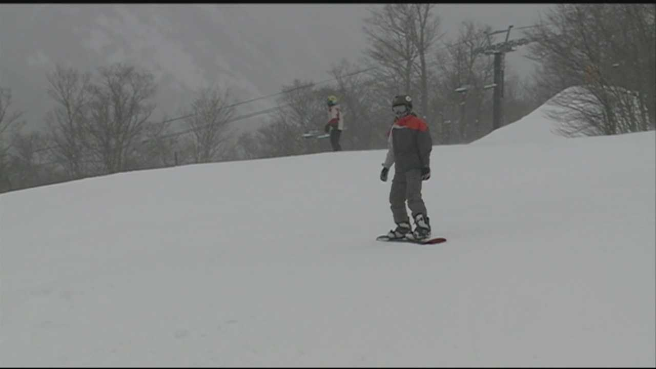Skiers enjoy late-winter snow