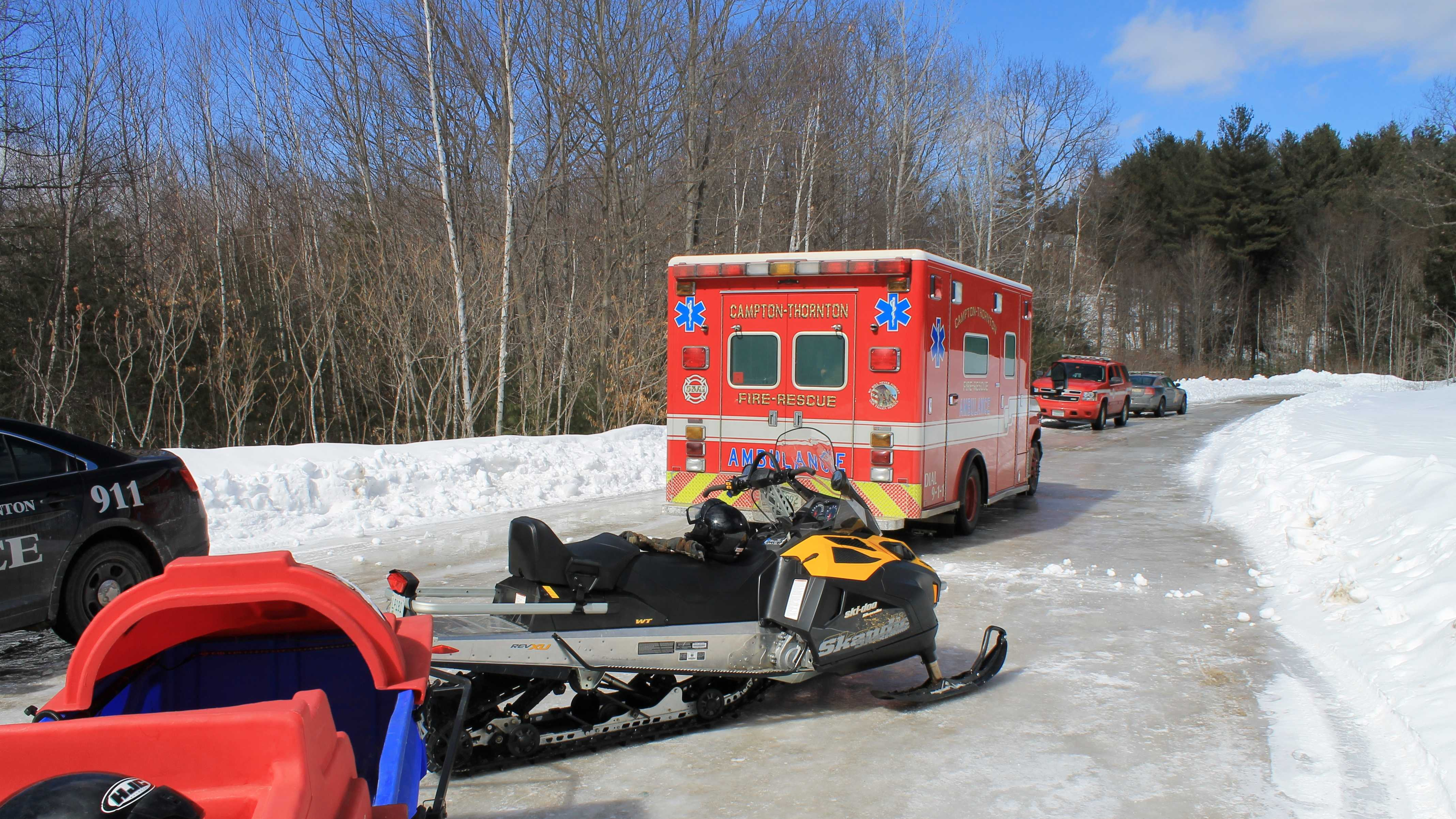 Campton-Thornton Fire-Rescue responded to a snowmobile crash with injuries Sunday.