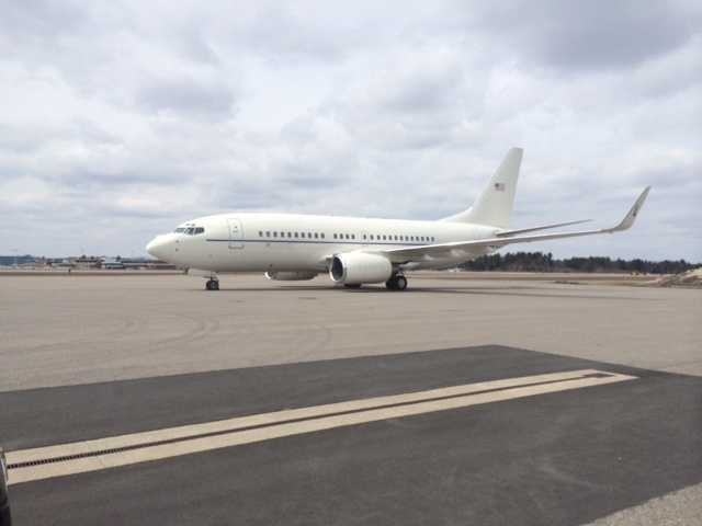 Vice President Joe Biden arrived on Air Force Two Tuesday to visit Nashua.
