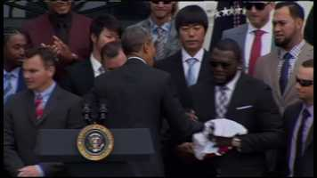 David Ortiz had a Red Sox jersey for Obama.