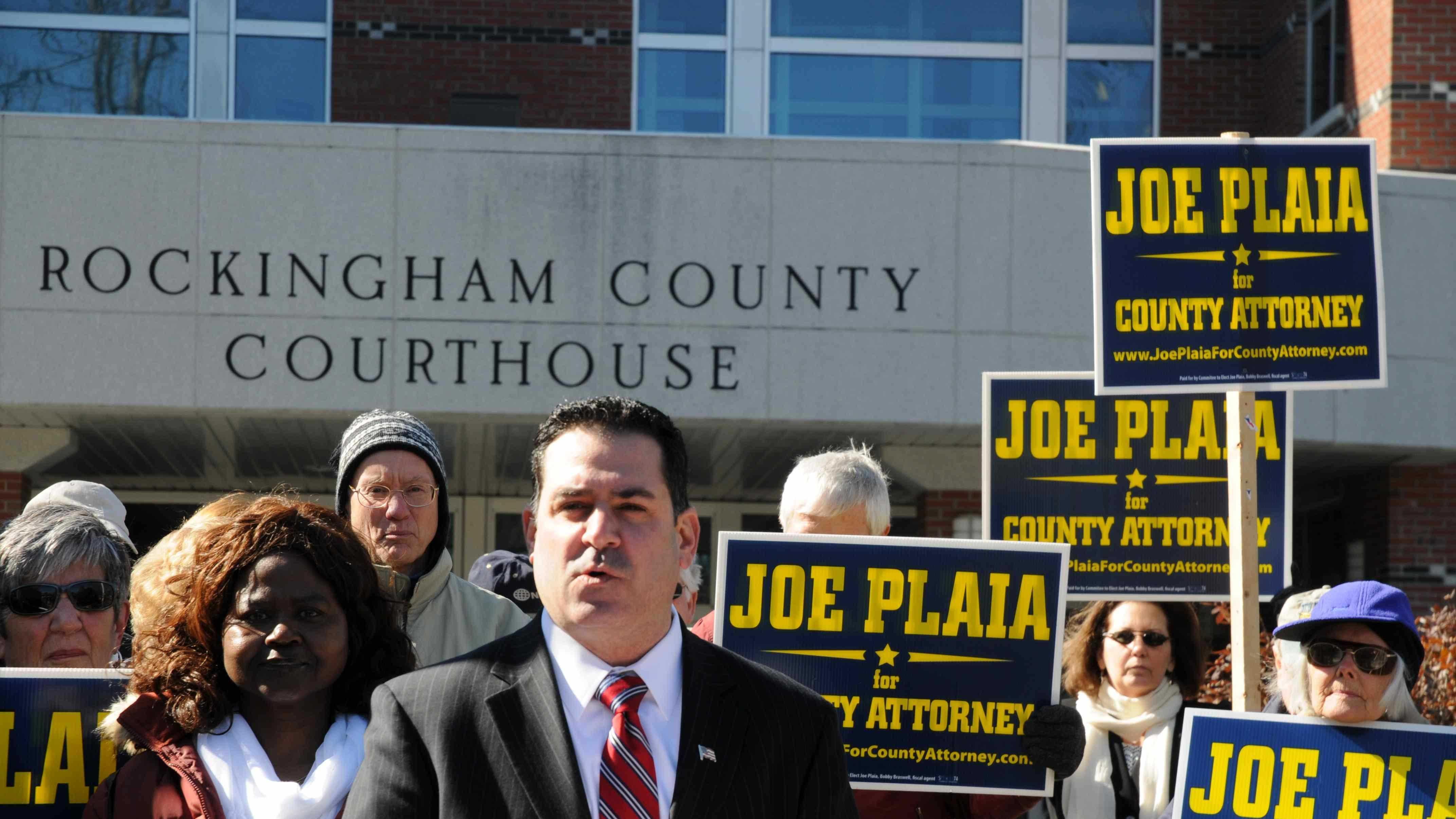 Joe Plaia, D-Portsmouth, announces his bid for Rockingham County Attorney, on April 1, 2014.