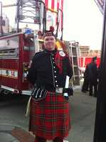 A bag pipe player from Worcester