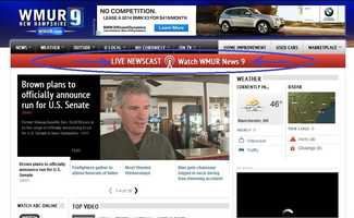 How the homepage looks during a newscast. Note the click-able live stream banner.