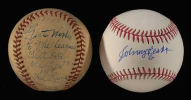 Vintage Ted Lyons single signed baseball inscribed to Johnny Pesky c.1942.