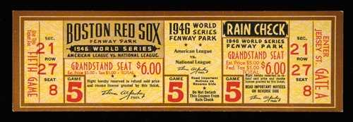 1946 World Series Game (5) full ticket (at Boston). Rare original unused ticket issued for game won by the Boston Red Sox at Fenway Park with Ted Williams collecting his only RBI of the Series.