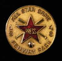 "1946 All-Star Game press pin (at Fenway Park). Original pin marked ""Balfour"" on the back"