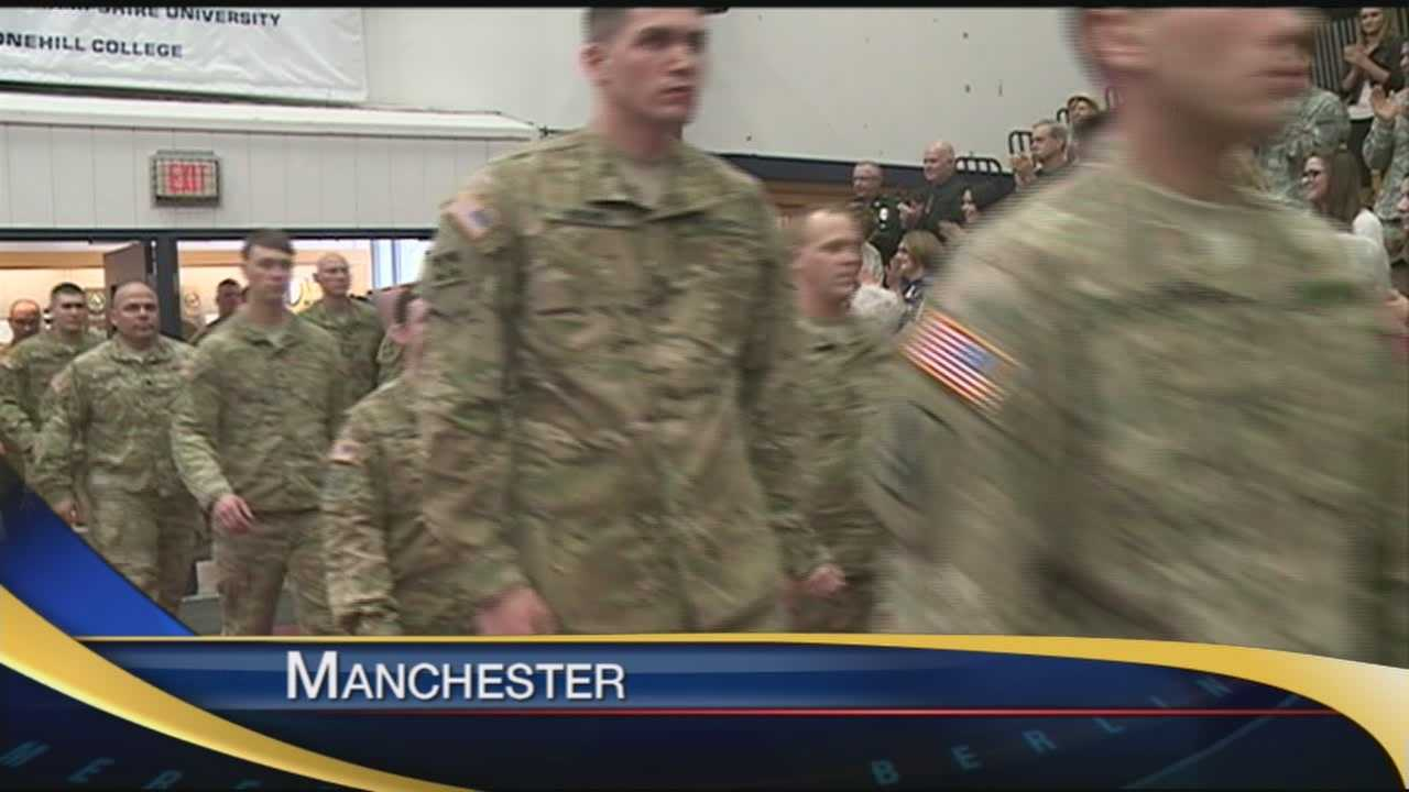 Soldiers returning home were honored Sunday.
