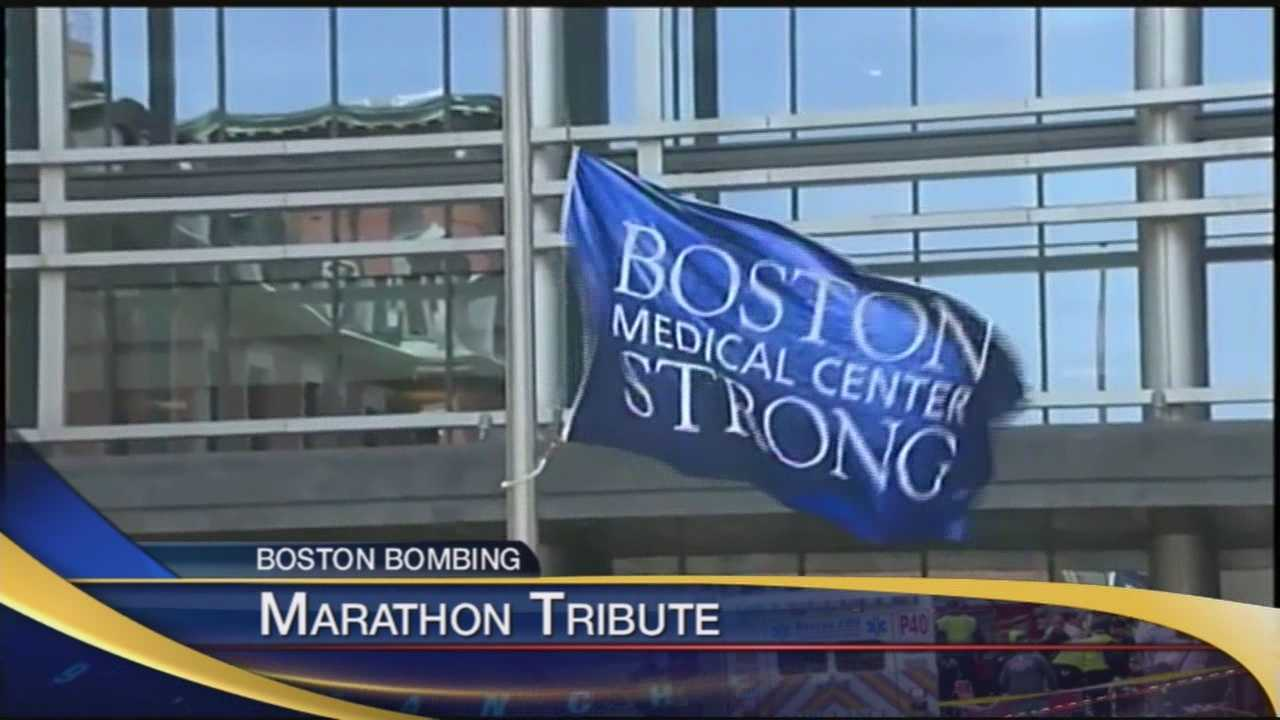 Hospital raises flag to honor bombing victims