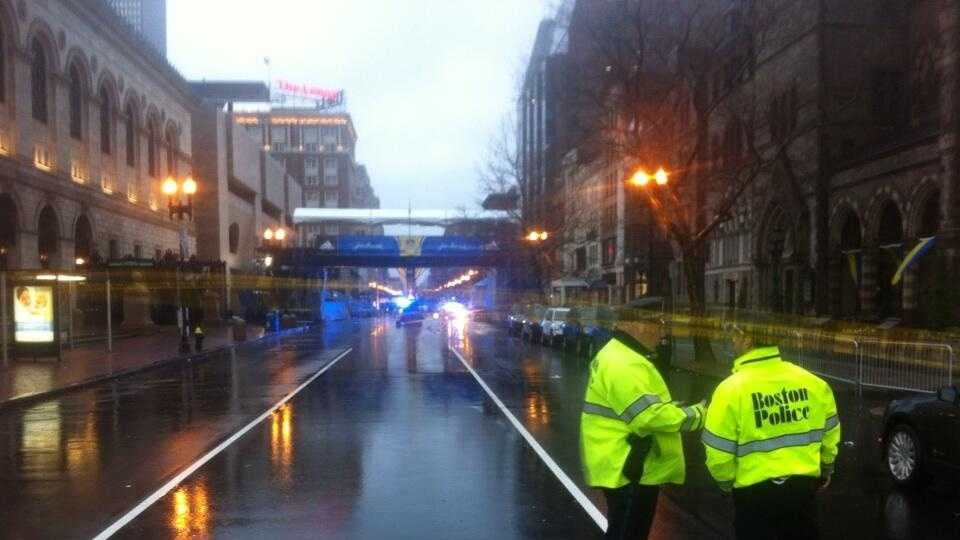 Two suspicious backpacks was discovered at the finish line of the Boston Marathon Tuesday evening.