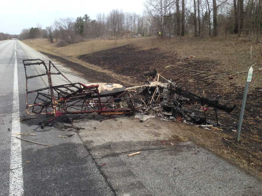 Remains of the plane that crashed Friday afternoon in Highgate, Vermont.