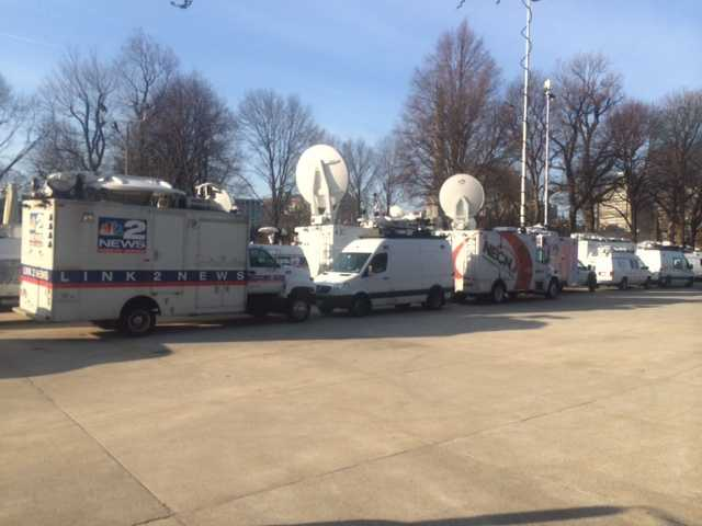 Television satellite trucks from all across the country are in the city covering the Boston Marathon.