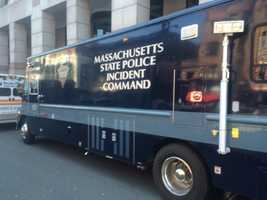A Massachusetts State Police incident command vehicle was parked on Boylston Street.