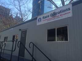 The Boston Marathon race operations command post on Boylston Street near the finish line.
