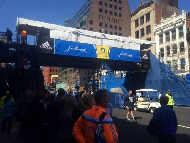 The finish line photo bridge where photographers will capture the race.