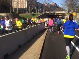 Boston Marathon preparations included Saturday's Boston Athletic Association's Boston Marathon 5K race, which wound through the streets of the city.