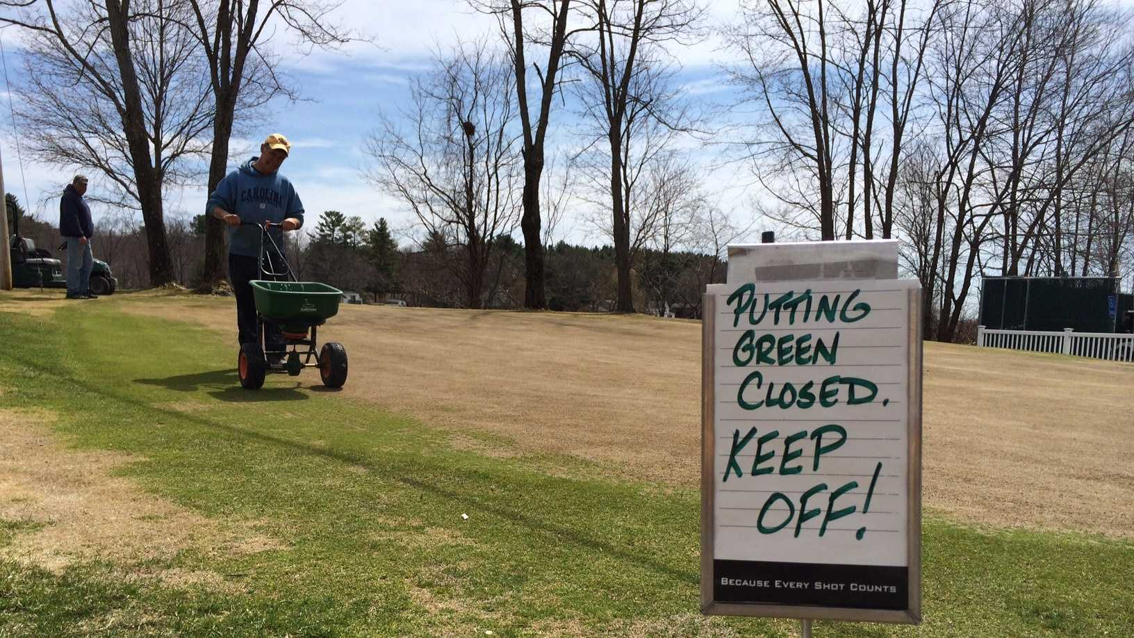 Damaged golf green