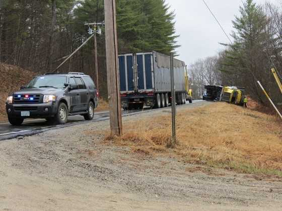 A tractor-trailer rolled over in Danbury on Wednesday, April 30, snarling traffic on Route 4.
