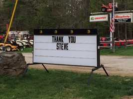 Signs of support were left around town after Arkell's murder.