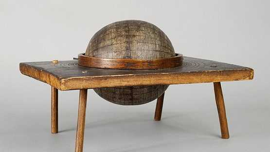 Terrestrial globeMade by Samuel Lane in Stratham, N.H. in 1760.