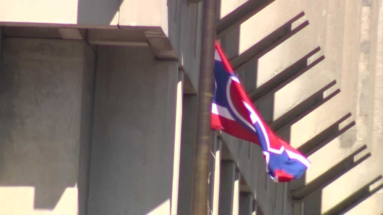 Oh Canada!  Habs flag flies over Boston City Hall