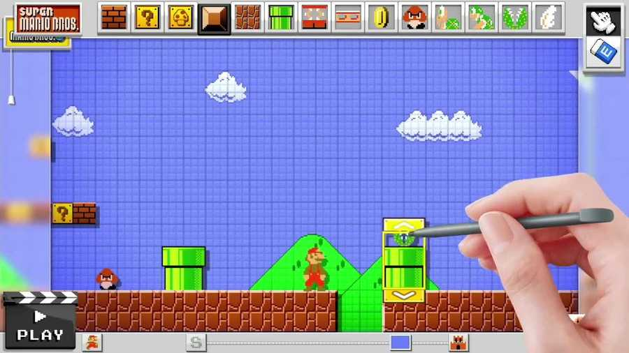 With Mario Maker, you can create and play your own levels in the original Super Mario Bros on the system's newest game console, the Wii U.