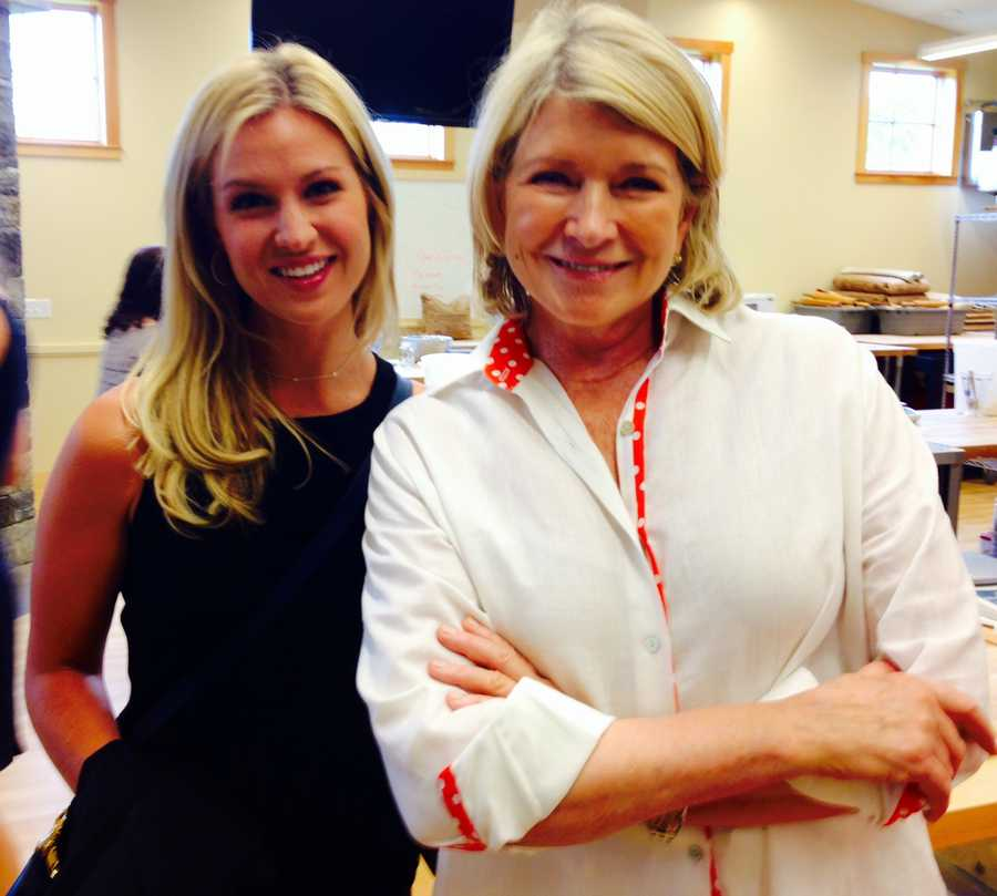WPTZ/WNNE's Ashley Allen strikes a pose with Martha Stewart before the demo.