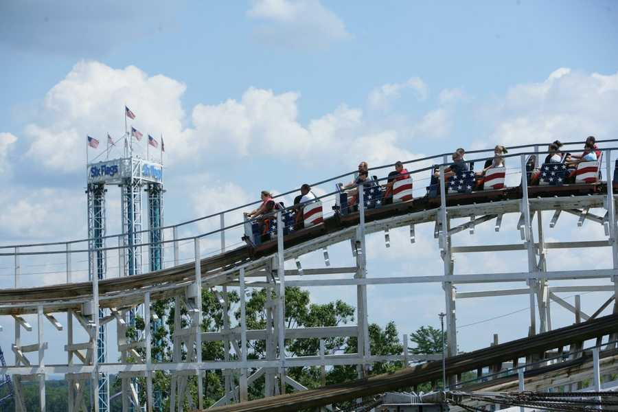 As one of the largest wooden coasters in the world, the amazing wooden architecture unfurls over 3,400 feet of track.