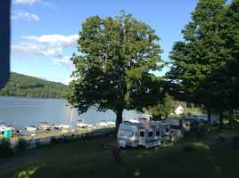 The campground has terraced camping sites for great views of Mascoma Lake.