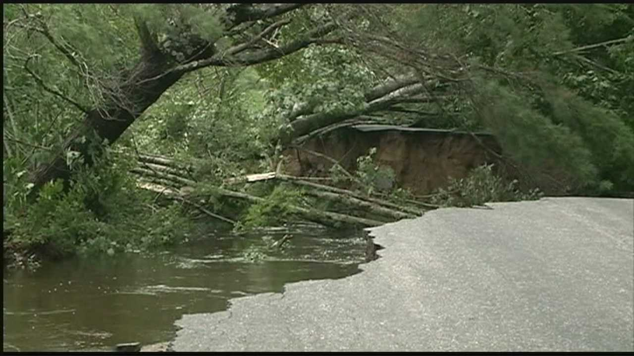 Roads washed out by floods in Winchester