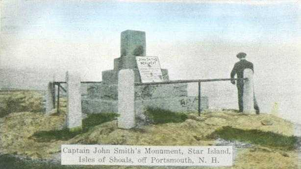 A shot of the Capt. John Smith Monument, as it appeared in 1914 at the Isles of Shoals.