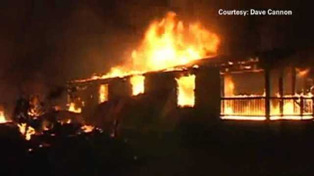 California earthquake home on fire