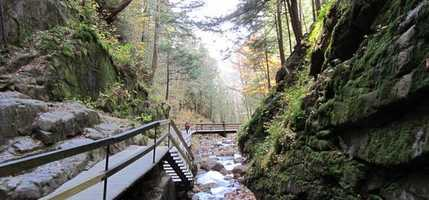 Walk deep into the forest in Franconia Notch to experience the Flume