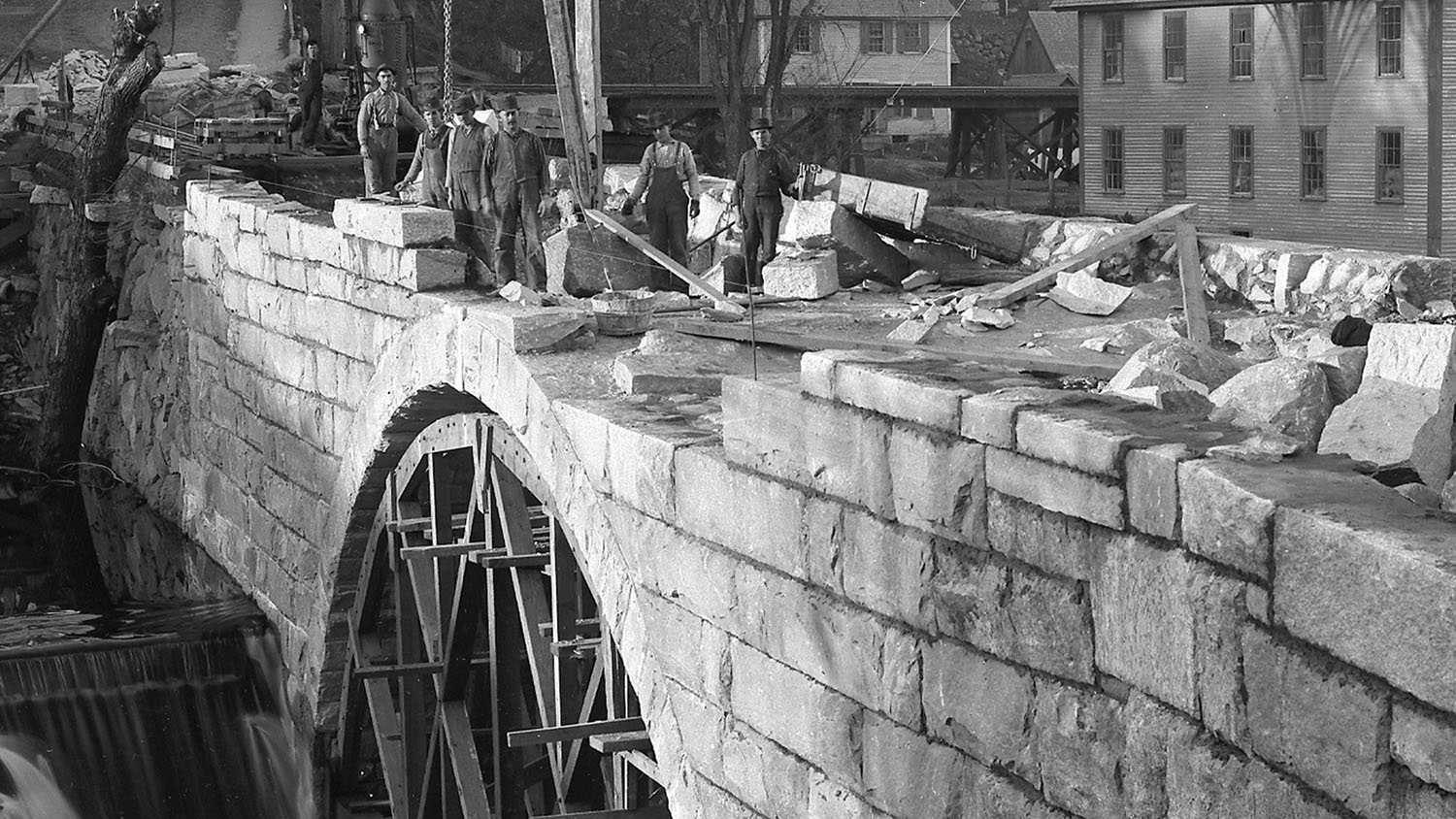 Repares to stone arch bridge on Bridge Street after flood washout in 1892