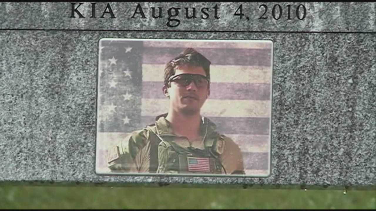 Plymouth Regional High School class of 1993 pooled their money to buy a granite memorial bench for master Sgt. Jared Van Aalst and donated it to the school.