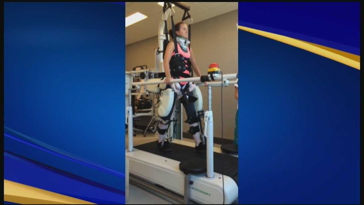 After suffering a traumatic spinal injury this summer, Jaime Carnucci, of Hooksett, is fighting to regain use of her arms and legs.