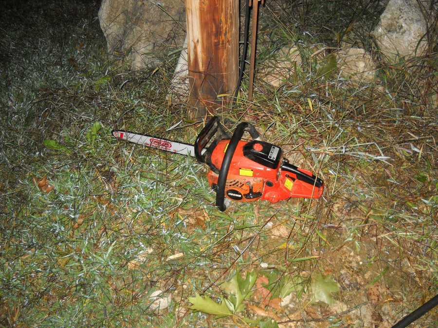 Police say Kappotis was accused of chasing after a homeowner with this chainsaw.