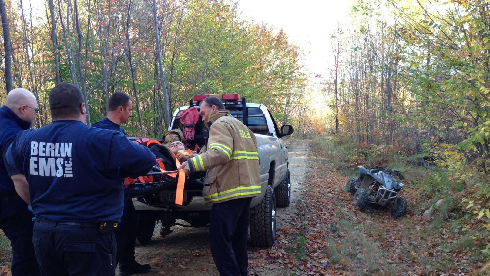 Berlin EMS transporter an injured Massachusetts man to the hospital on Sunday.