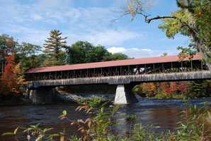 Saco River Bridge in Conway, N.H.Constructed in 1890. The original bridge was damaged when the Swift River Bridge came crashing into it. The bridge was rebuilt, but damaged again in a tannery fire.