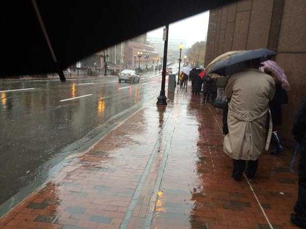 The line outsideFaneuil Hall Sunday stretched down Congress Street, as Boston residents toughed out the weather to pay their respects to the Menino family.