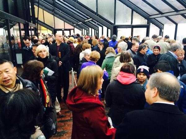 Hundreds lined up early to pay their respects to the Menino family atFaneuil Hall.
