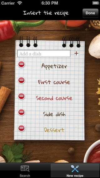 The app organizes your recipes by dish-types like main courses, side dishes or desserts.