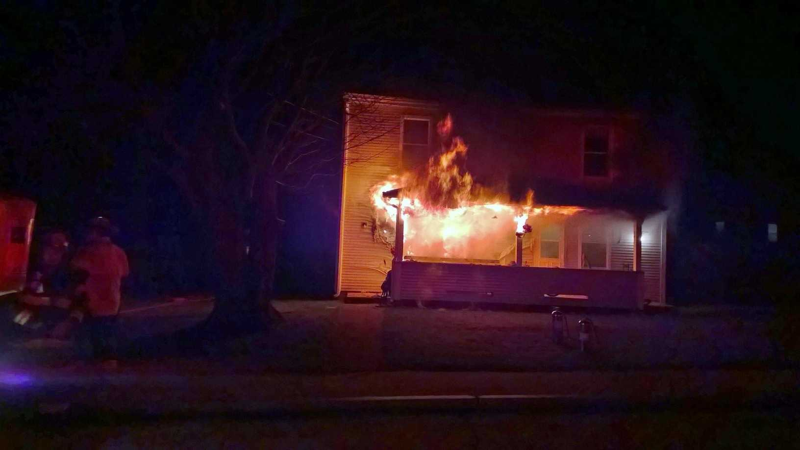 A pet cat was killed in a fire at an apartment in Jaffrey Sunday night.