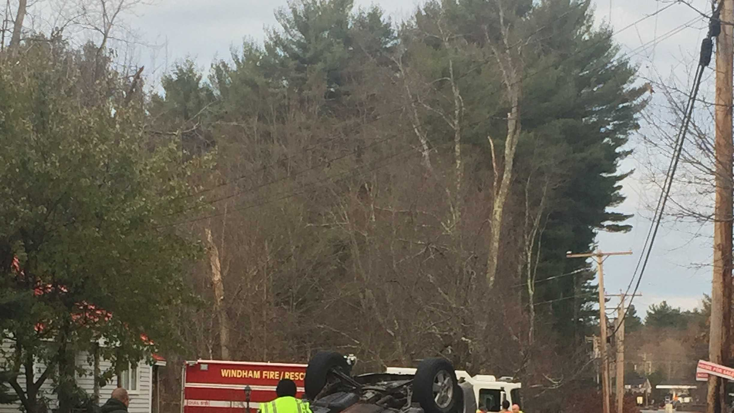 The Windham Police Department is trying to determine what caused a sport utility vehicle to roll over on Cobbetts Pond Road in Windham this morning.