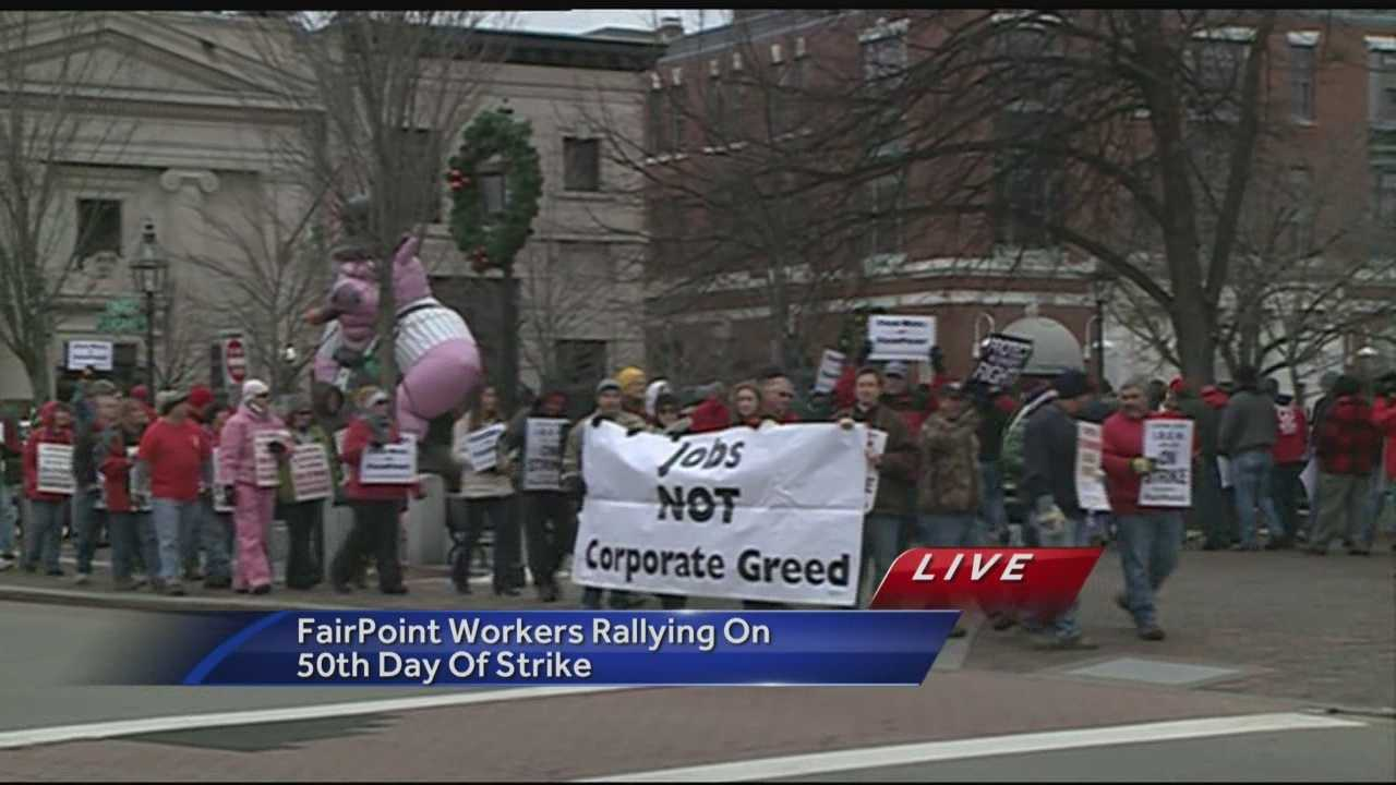 Striking FairPoint workers rallied at Market Square on Portsmouth on Friday on the 50th day since workers walked off the job over a contract dispute.