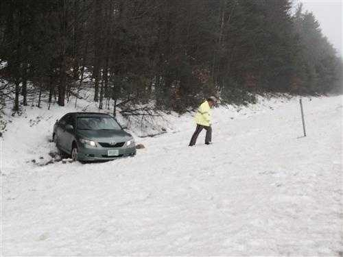 Numerous accidents due to slick roads were reported across New Hampshire on Tuesday.