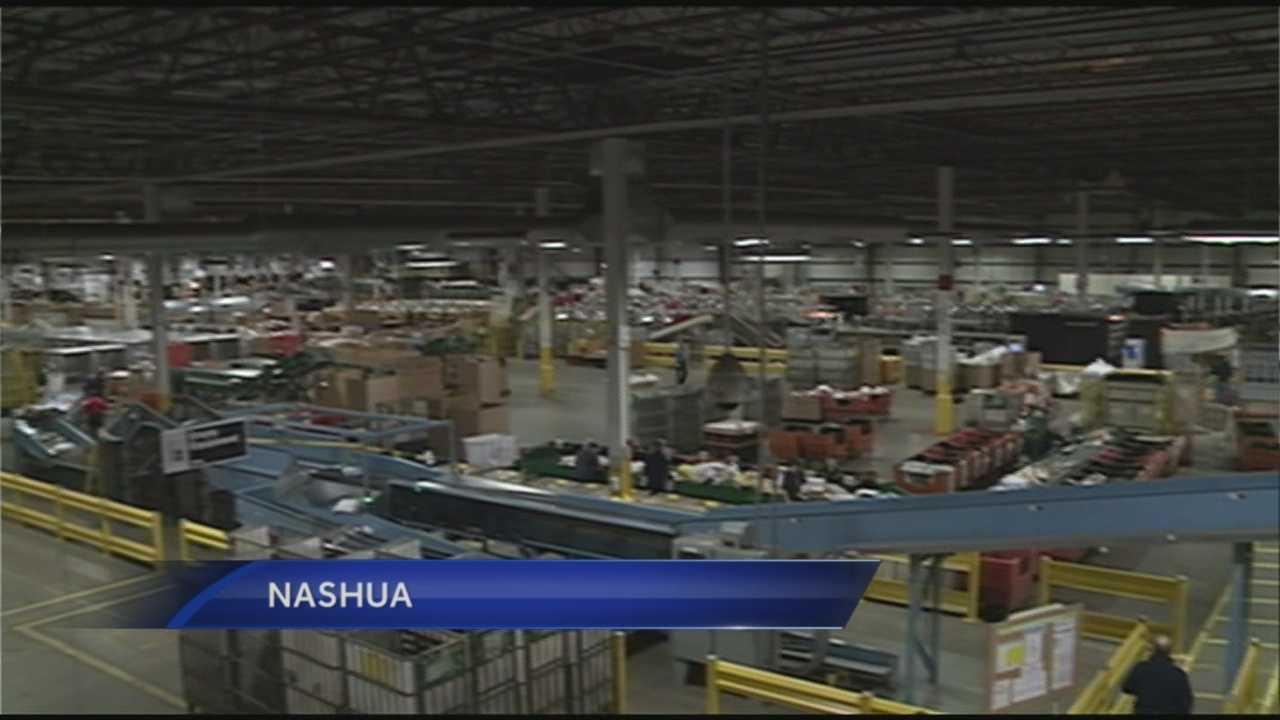 300,000 packages to be processed at Nashua facility Monday night.