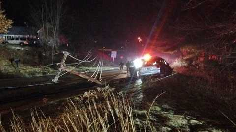 A car crash on Logging Hill Road in Bow left a neighborhood without power for some time.